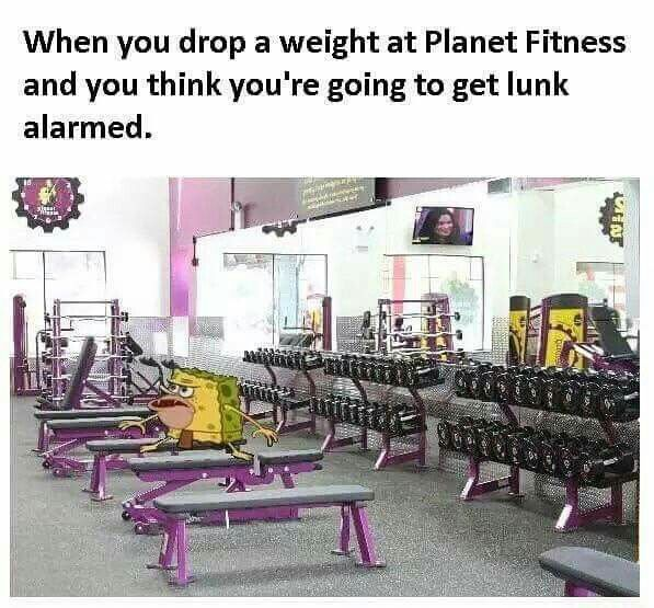 A lunk alarm meme explaining how dropping the weight on accident will screw you over.