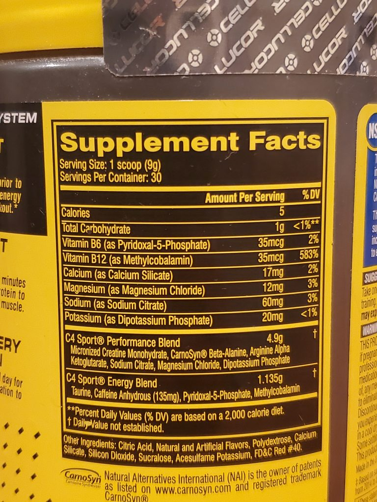 C4 Sport Pre Workout Review Nutrition Facts