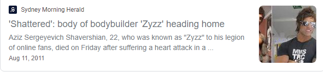 The Sydney Morning Herald referencing the zyzz death.