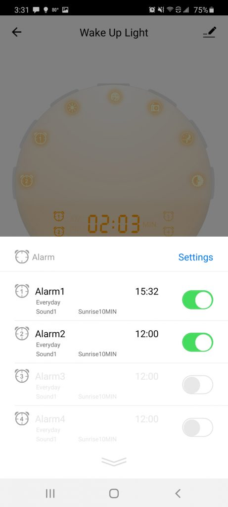 Heimvision sunrise alarm clock smart life app - setting the alarm section