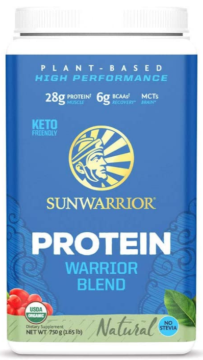 Sunwarrior protein warrior blend, one of the best natural bodybuilding supplements.