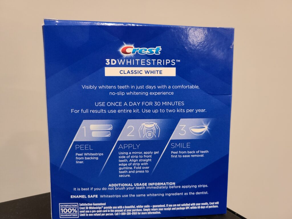 Crest Whitestrips Review Back of the box