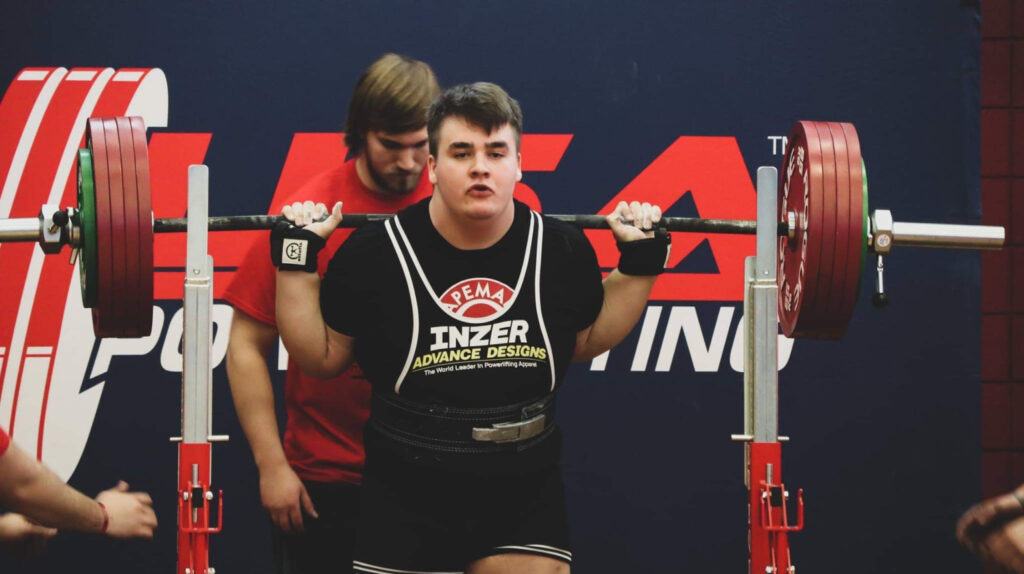 Kody Sanders preparing for a lift. One of the most famous powerlifters at 18.